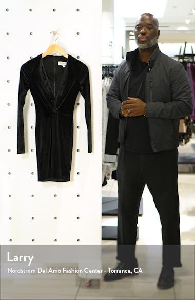 Aidan Long Sleeve Twist Plunge Velvet Body-Con Dress, sales video thumbnail