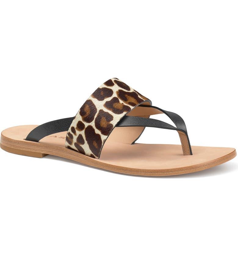 TRASK Shay Slide Sandal, Main, color, WHITE LEOPARD CALF HAIR