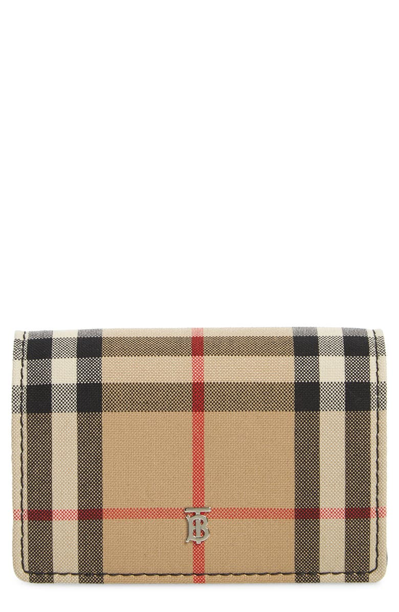 BURBERRY Jessie Vintage Check Card Case, Main, color, BLACK