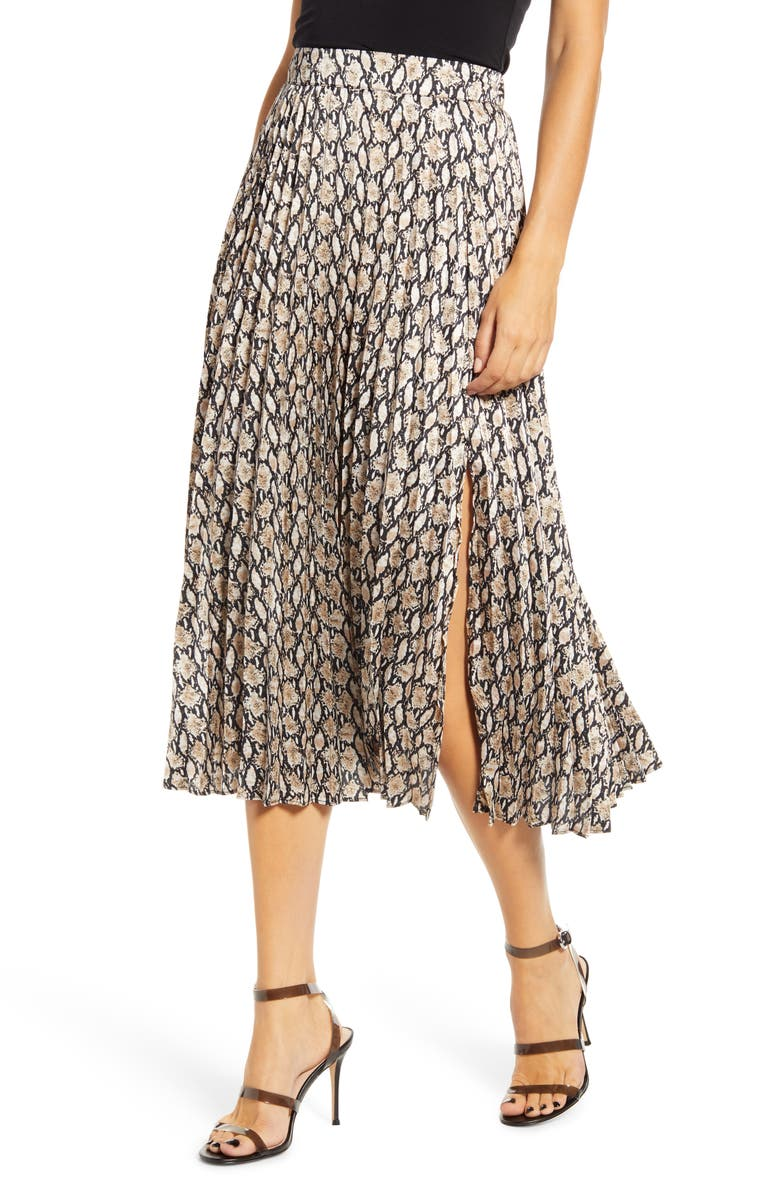 ALL IN FAVOR Snake Print Pleated Skirt, Main, color, SNAKE