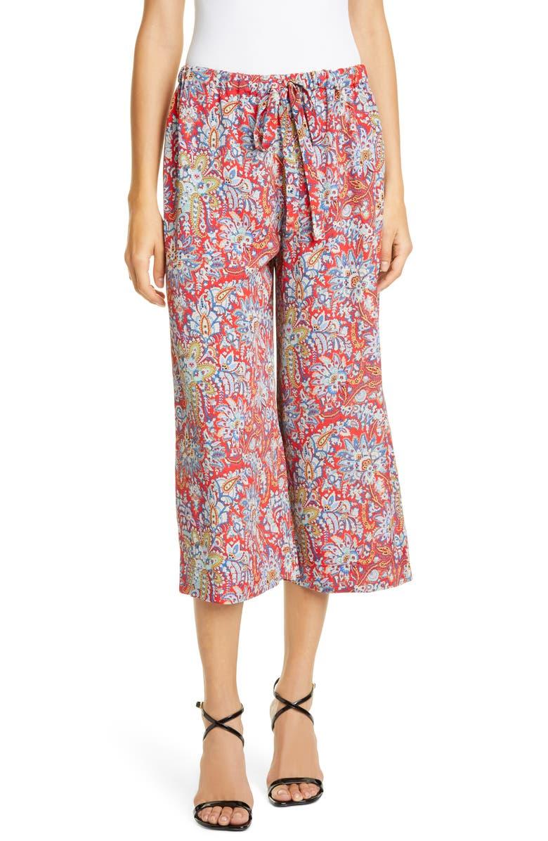ETRO Floral Paisley Print Crop Pants, Main, color, RED