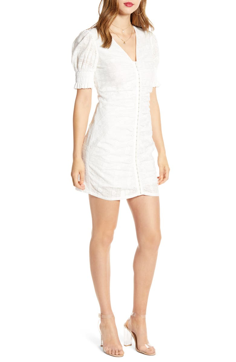 ENGLISH FACTORY Heart Detail Cotton Eyelet Body-Con Dress, Main, color, WHITE