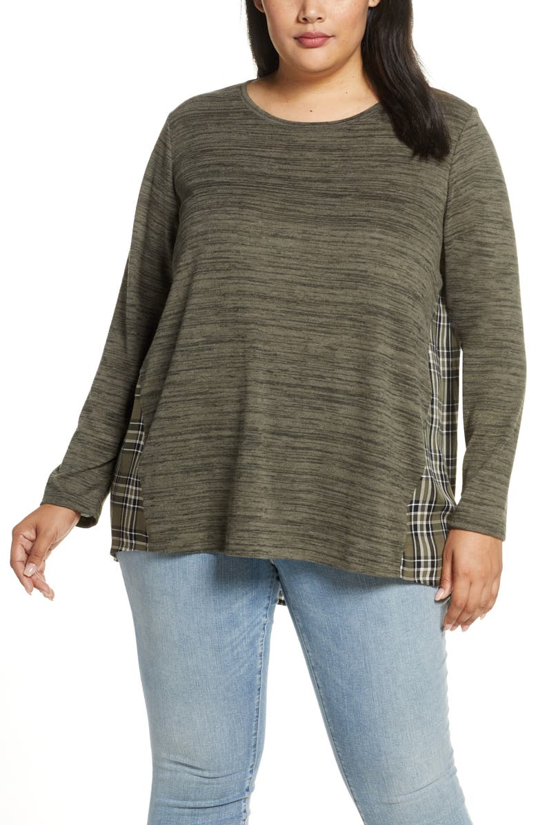 SINGLE THREAD Plaid Mix Long Sleeve Top, Main, color, OLIVE AS SAMPLE