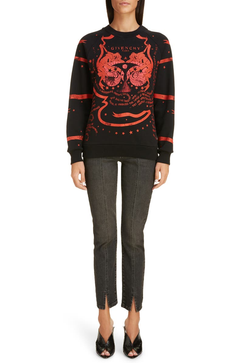 GIVENCHY Gemini Print Sweatshirt, Main, color, BLACK/ RED