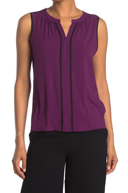 Image of Calvin Klein Sleeveless V-Neck Contrast Trim Top