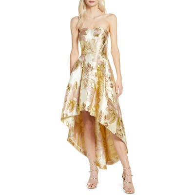 Chi Chi London Grace Strapless High/low Brocade Party Dress, Metallic
