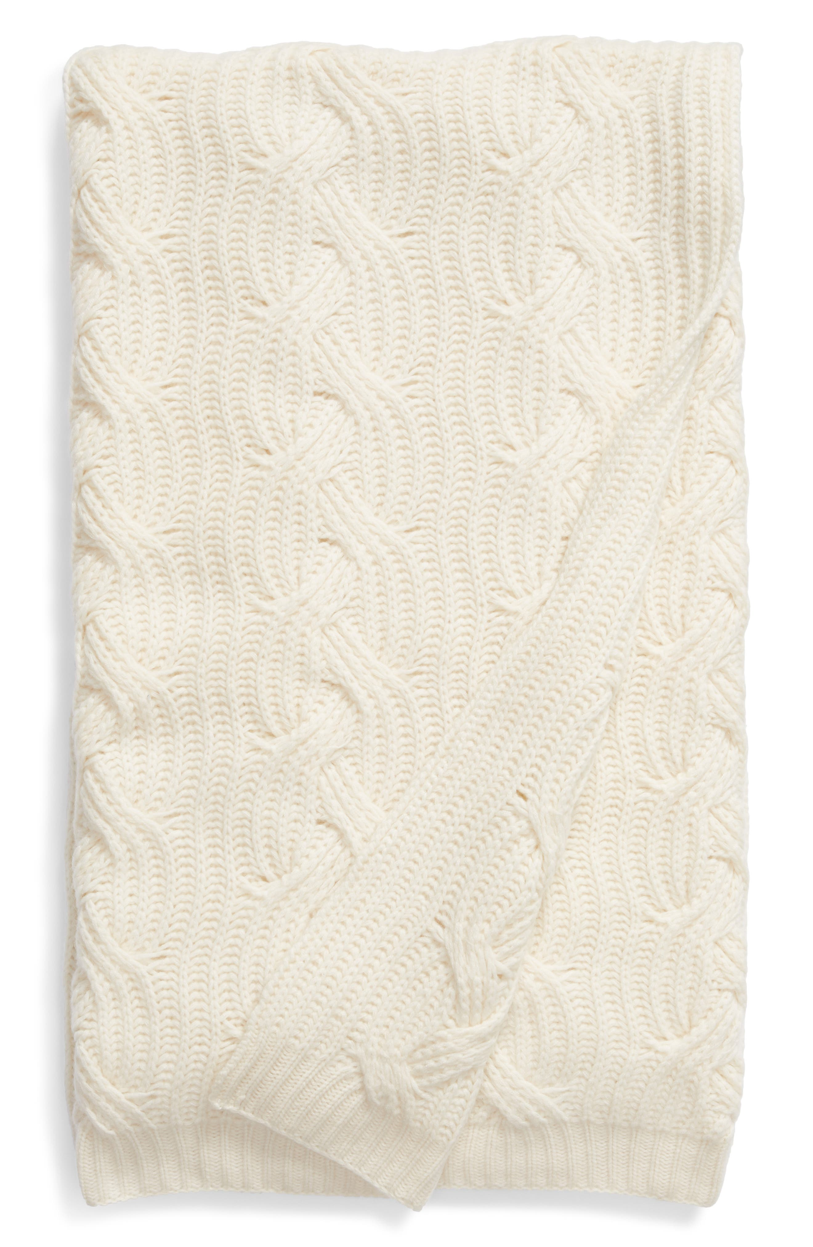 ,                             Cable Knit Cashmere Throw,                             Main thumbnail 1, color,                             IVORY
