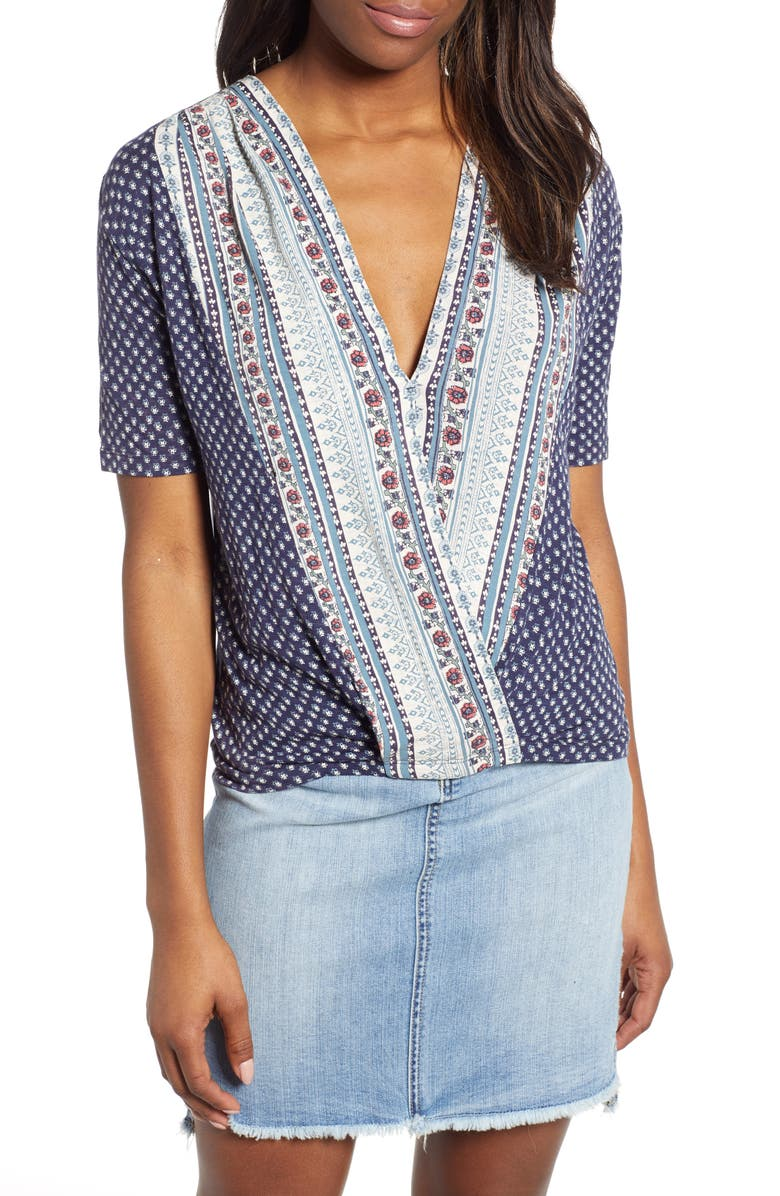 LUCKY BRAND Faux Wrap Top, Main, color, 460