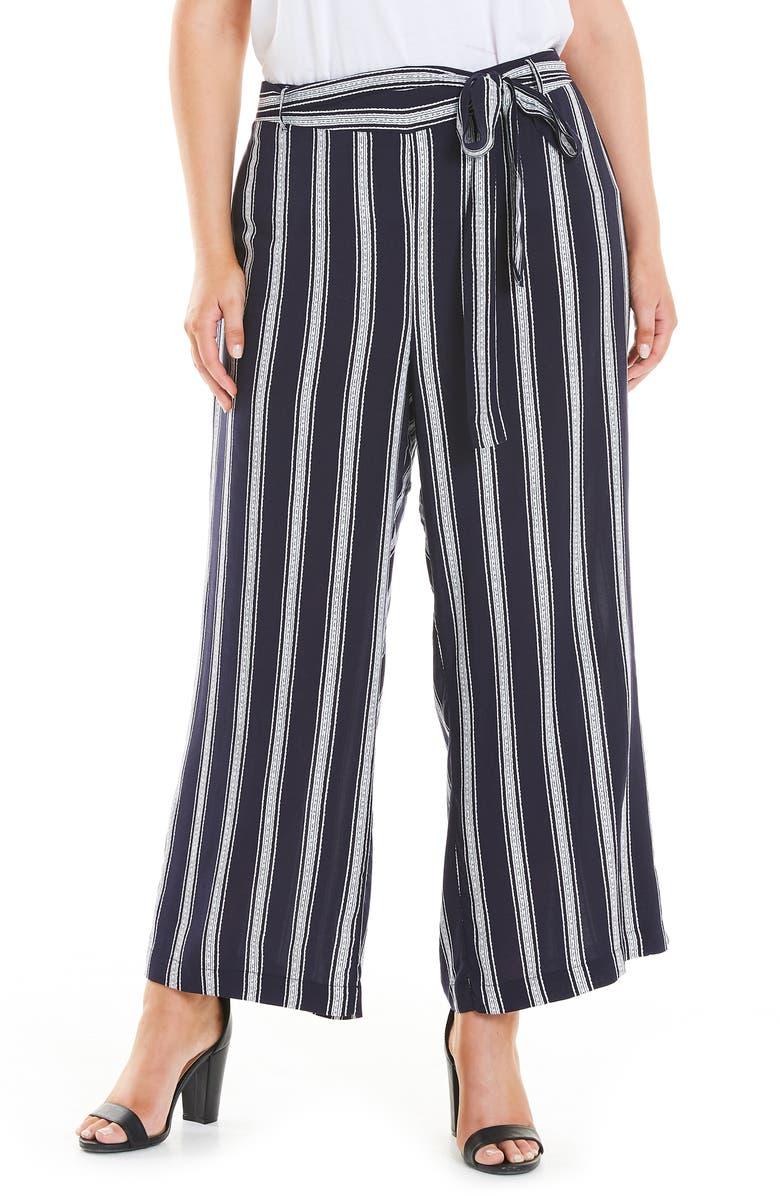 ESTELLE Stripe Tie Waist Pants, Main, color, 400