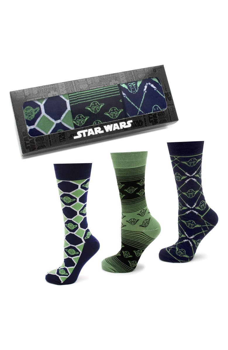 CUFFLINKS, INC. 'Star Wars' Wise Yoda 3-Pack Socks, Main, color, GREEN