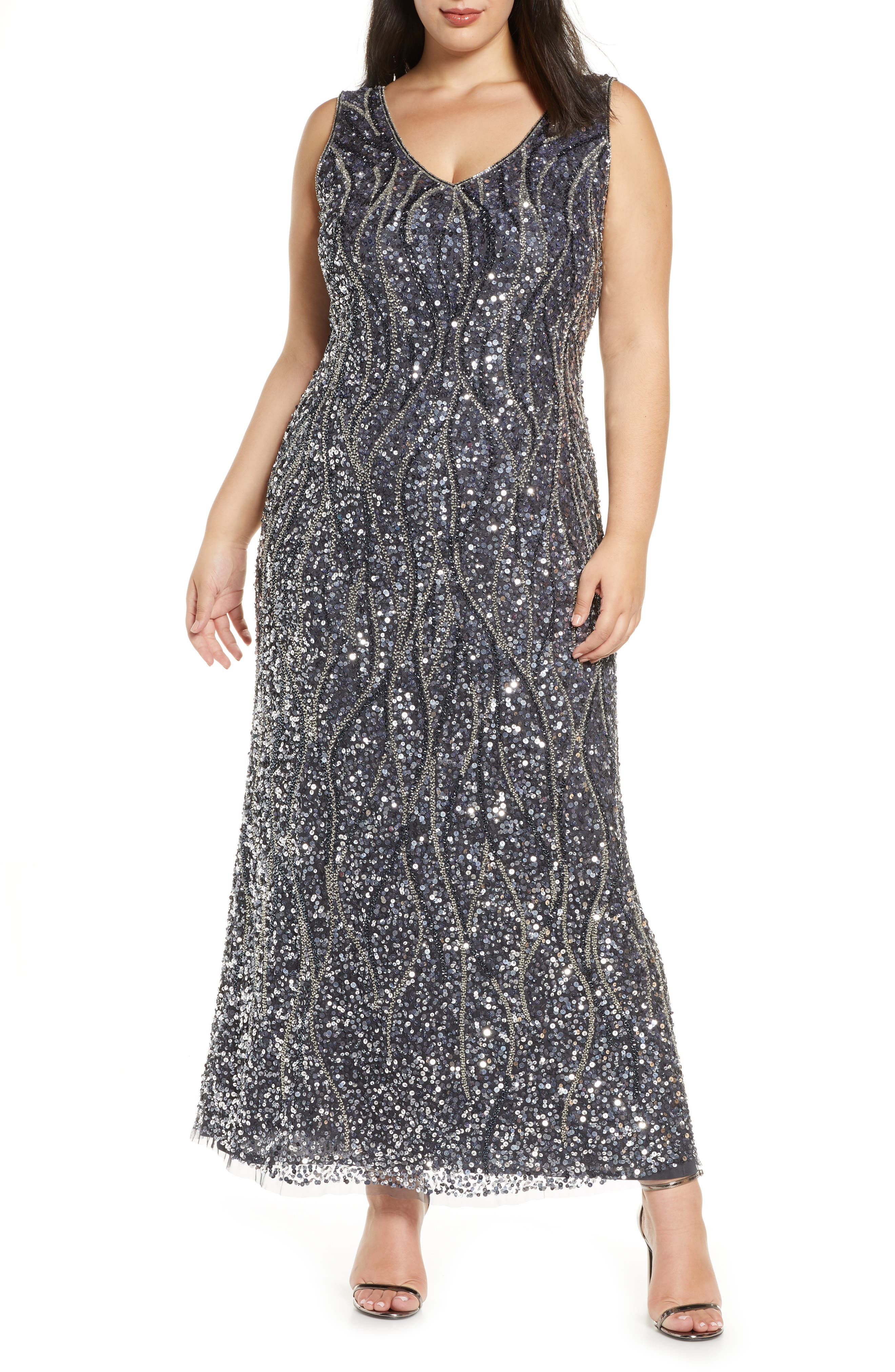 1920s Plus Size Flapper Dresses, Gatsby Dresses, Flapper Costumes Plus Size Womens Pisarro Nights Sequin  Bead Sleeveless Gown $268.00 AT vintagedancer.com