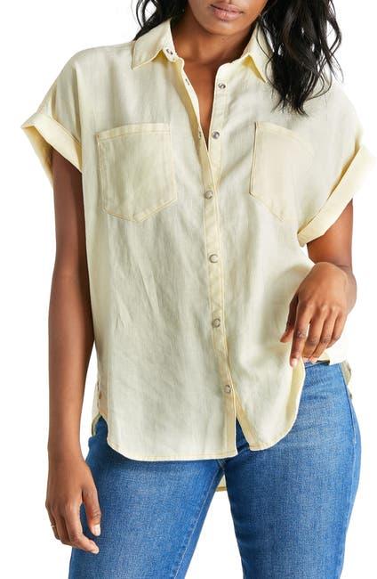 Image of ETICA Ash Button Front Linen Blend Top