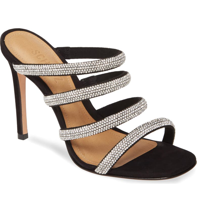 SCHUTZ Sariah Strappy Crystal Slip-On Sandal, Main, color, BLACK-CRISTAL