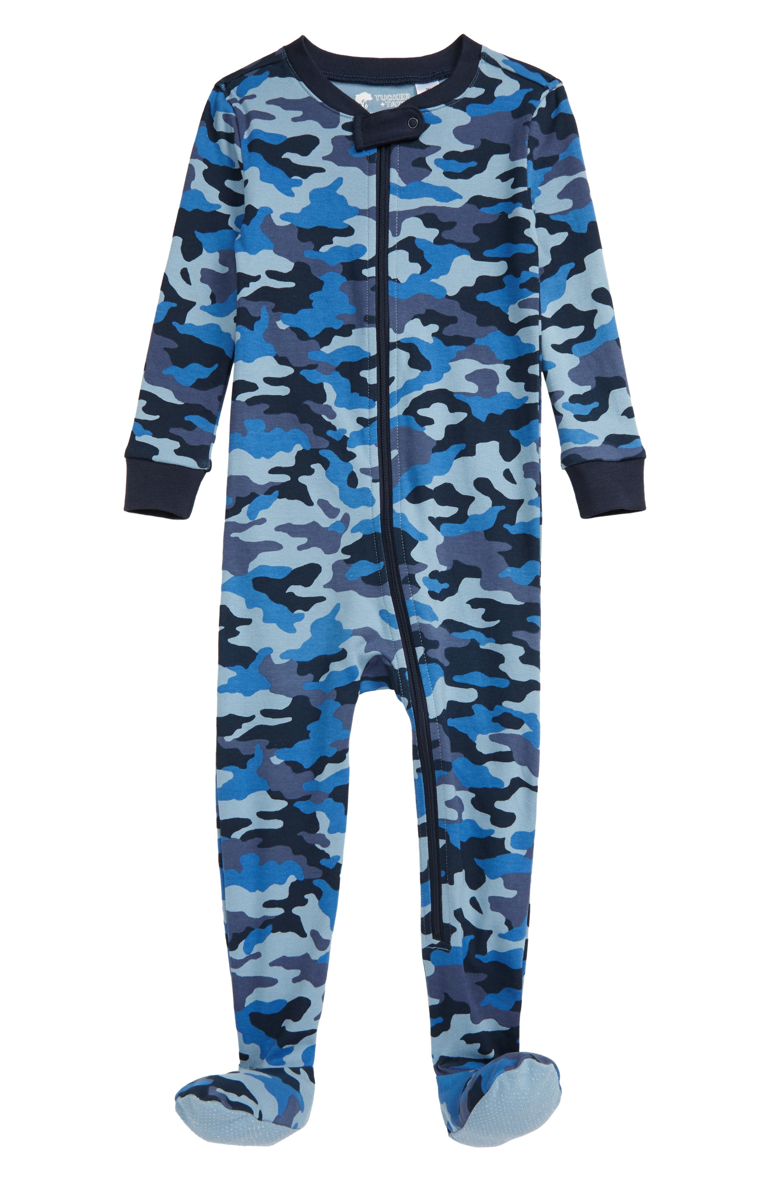 Keep your little one comfy and sleeping soundly in a snug-fitting footie that zips down the front for easy changing. Style Name: Tucker + Tate Print Fitted One-Piece Pajamas (Baby). Style Number: 5932309. Available in stores.