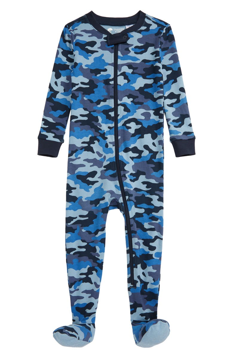 TUCKER + TATE Print Fitted One-Piece Pajamas, Main, color, NAVY ECLIPSE CAMO