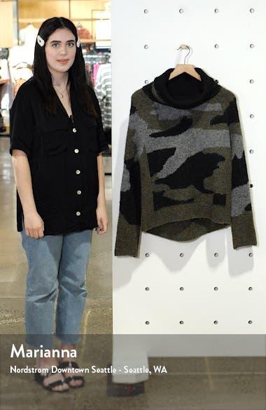 Camo Print Cowl Neck Sweater, sales video thumbnail