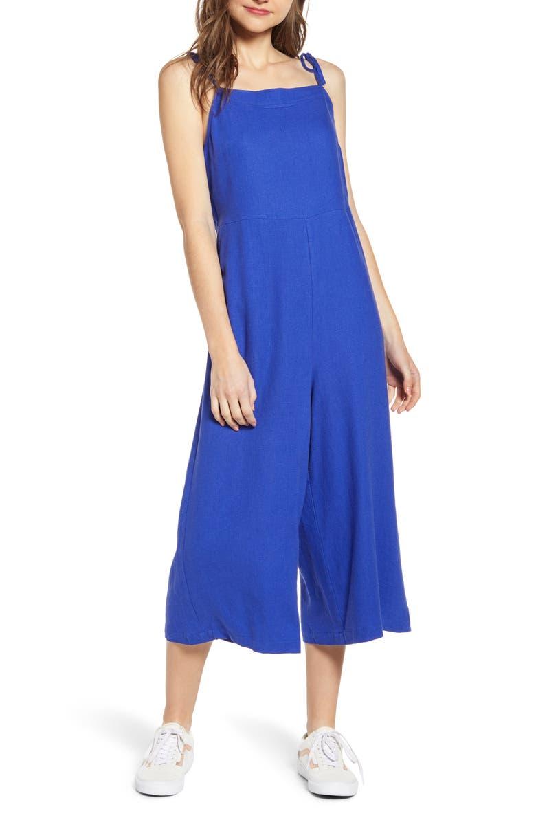 BP. Square Neck Linen Blend Crop Wide Leg Jumpsuit, Main, color, 420