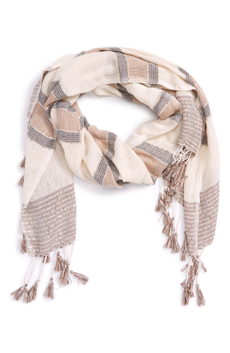 SOLE SOCIETY Embellished Knit Scarf, Main, color, 101