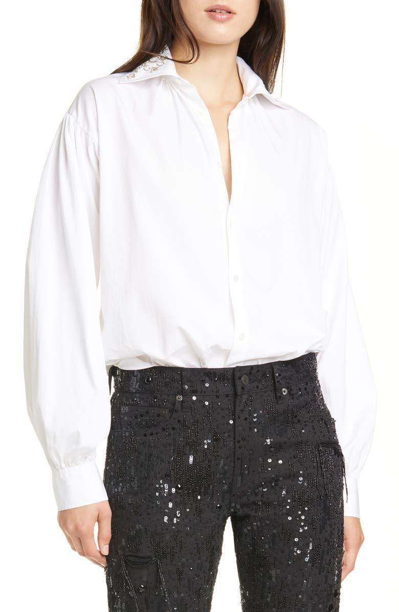 POLO RALPH LAUREN Balloon Sleeve Shirt, Main, color, WHITE