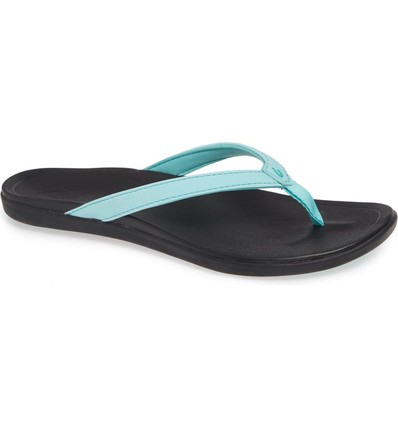 OLUKAI Ho Opio Flip Flop, Main, color, LAGOON/ BLACK FABRIC