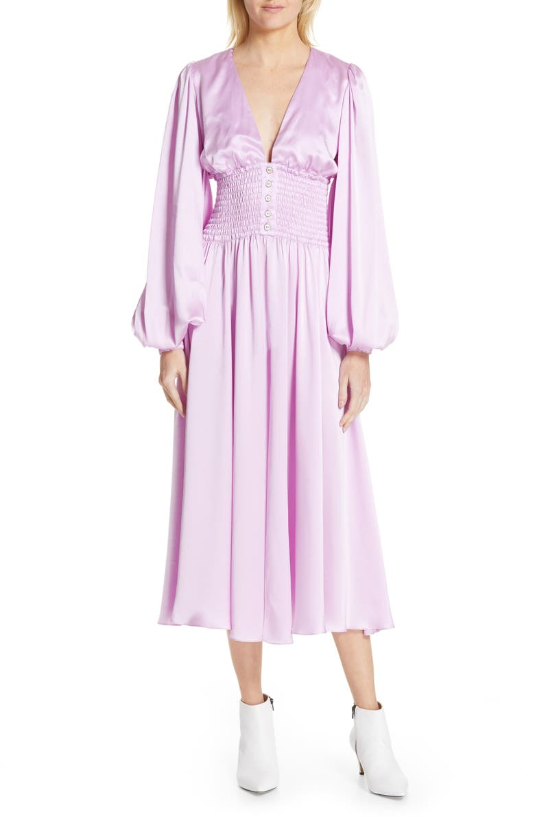 CAROLINE CONSTAS Syros Silk Dress, Main, color, LILAC