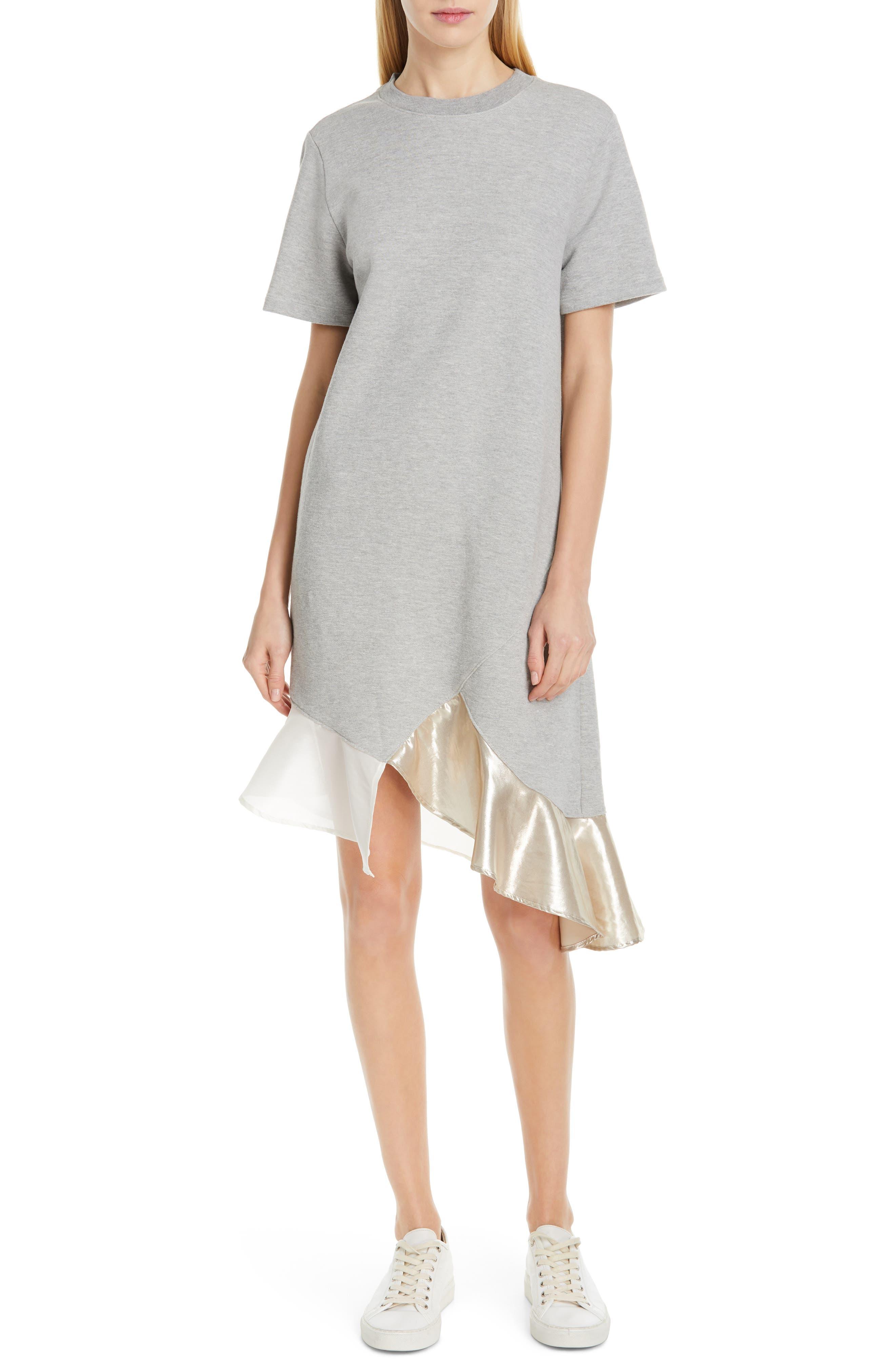 Clu Ruffle Hem Asymmetrical Dress, Grey
