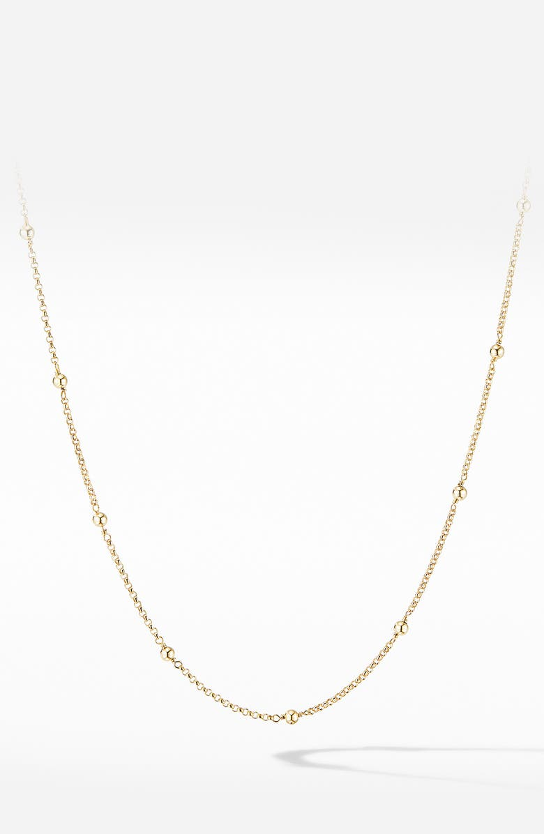DAVID YURMAN Cable Collectibles<sup>®</sup> Bead & Chain Necklace in 18K Yellow Gold with Gold Domes, Main, color, YELLOW GOLD
