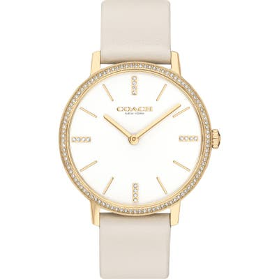 Coach Audrey Pave Leather Strap Watch, 35Mm
