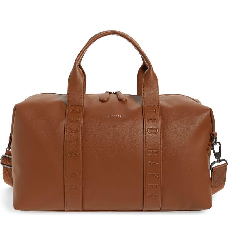TED BAKER LONDON Hungar Faux Leather Duffle Bag, Main, color, TAN
