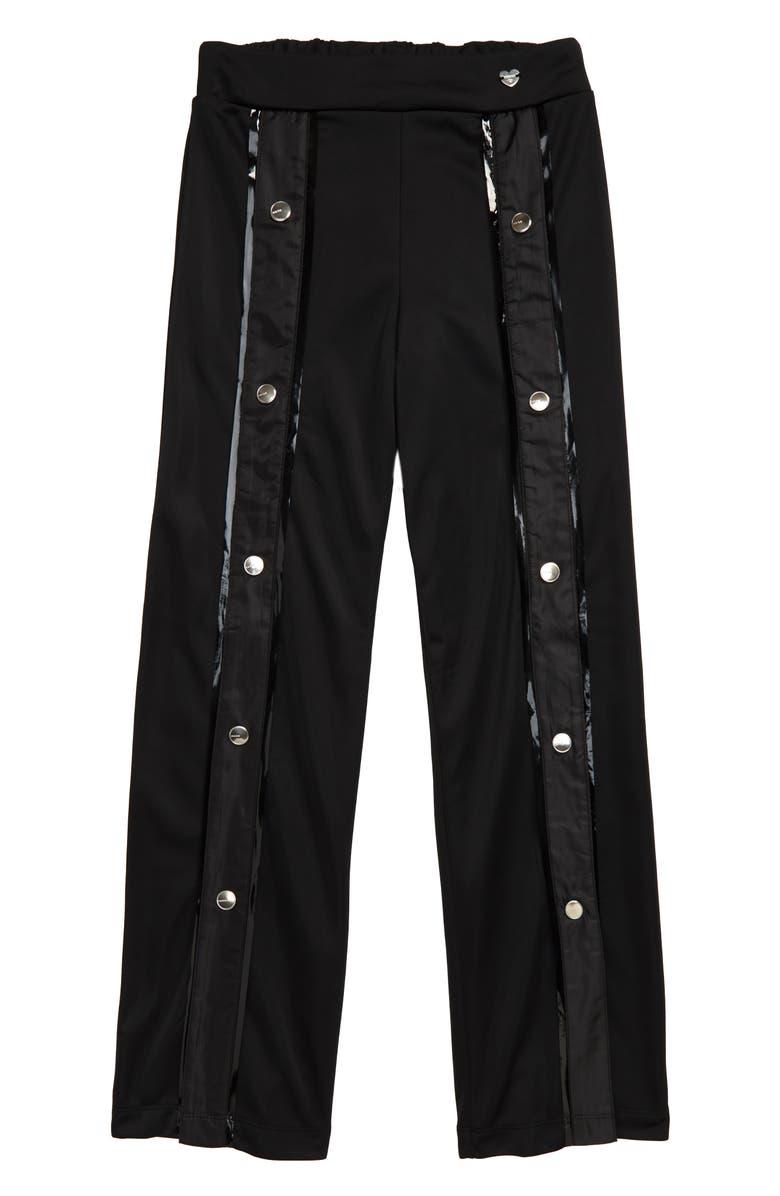 BEBE Snap Wide-Leg Pants, Main, color, BLACK