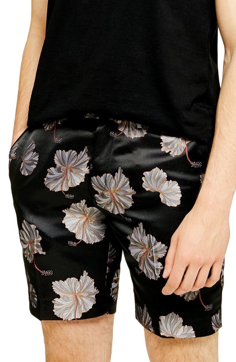 TOPMAN Mono Floral Classic Shorts, Main, color, BLACK MULTI