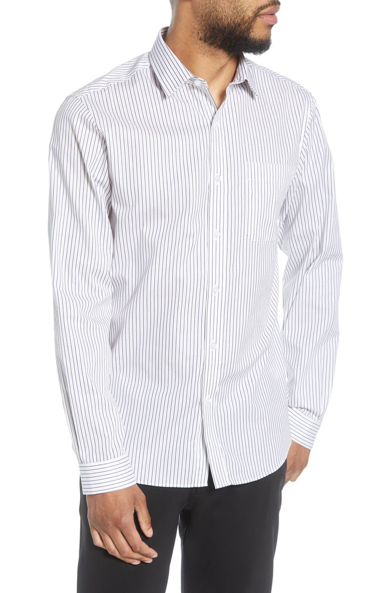 TOPMAN Slim Fit Stripe Button-Up Shirt, Main, color, WHITE MULTI