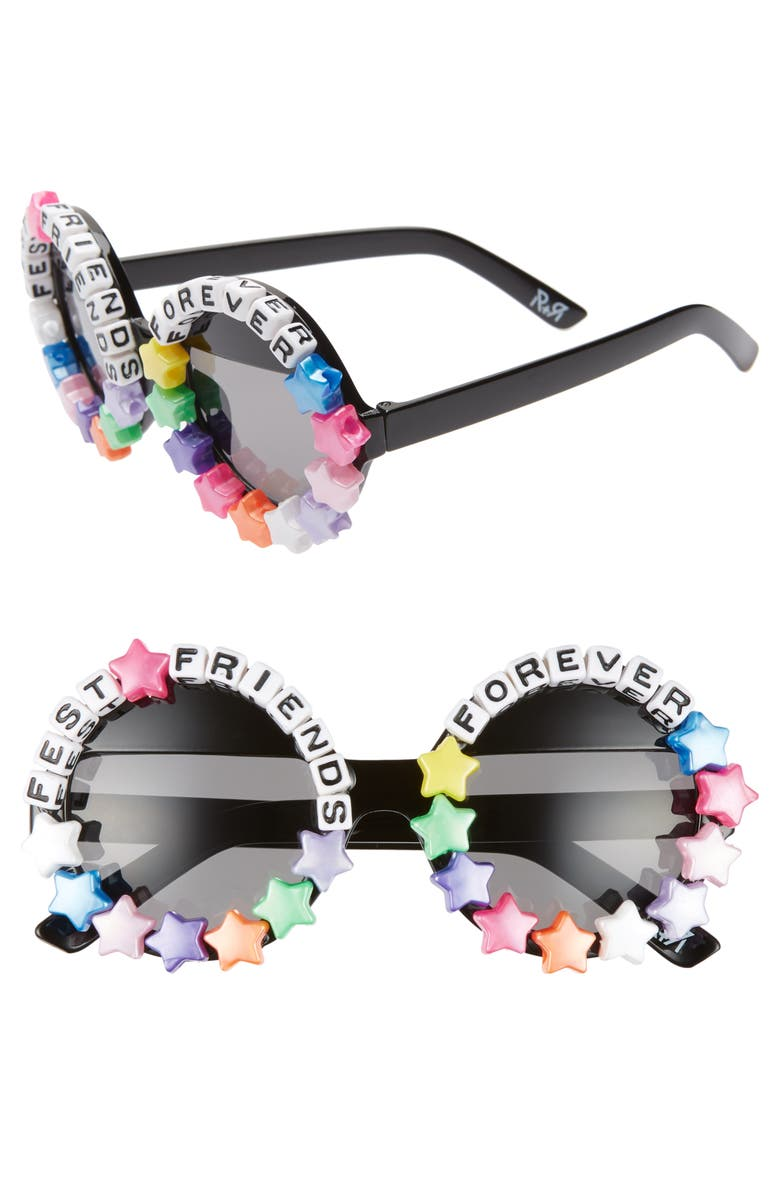 RAD + REFINED Fest Friends Forever Round Sunglasses, Main, color, BLACK/ PINK