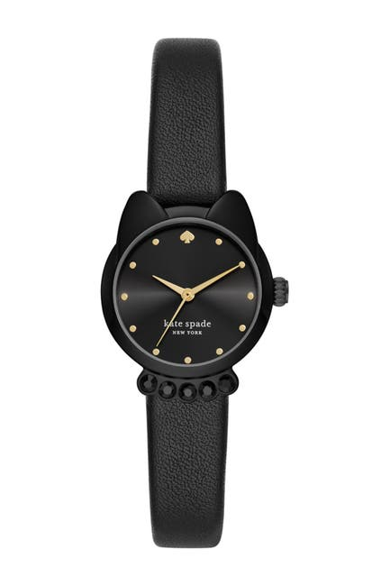 Image of kate spade new york women's cat shaped case leather strap watch, 26mm