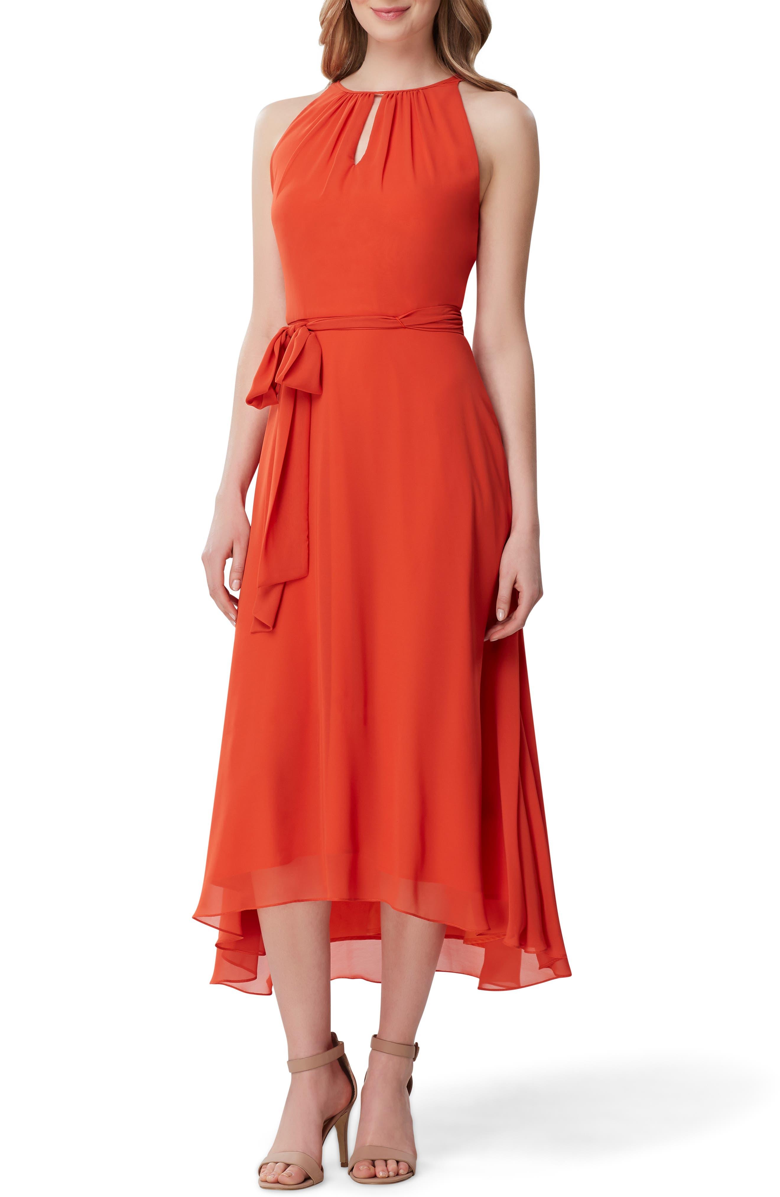 Petite Tahari Sleeveless Tie Waist Chiffon Midi Dress, Orange