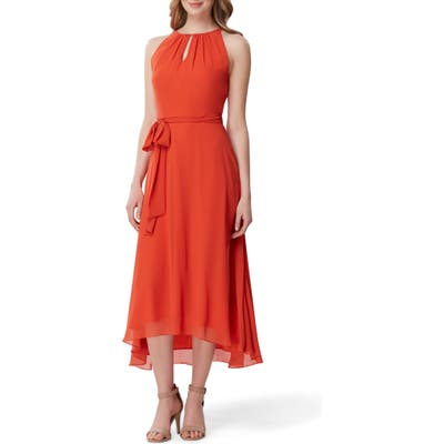 Tahari Sleeveless Tie Waist Chiffon Midi Dress, Orange