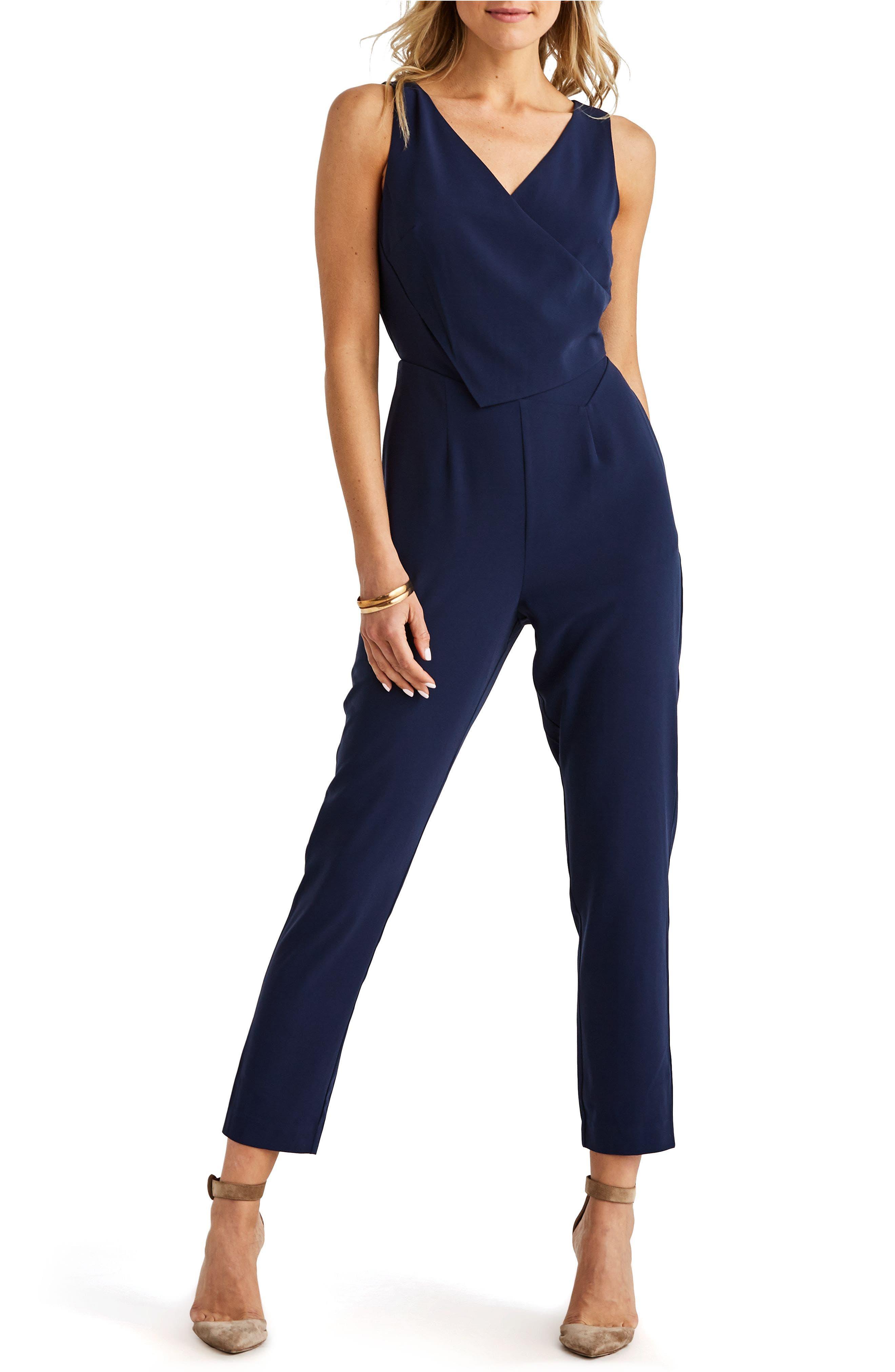 ,                             Sleeveless Slim Leg Asymmetrical Jumpsuit,                             Main thumbnail 1, color,                             NAVY