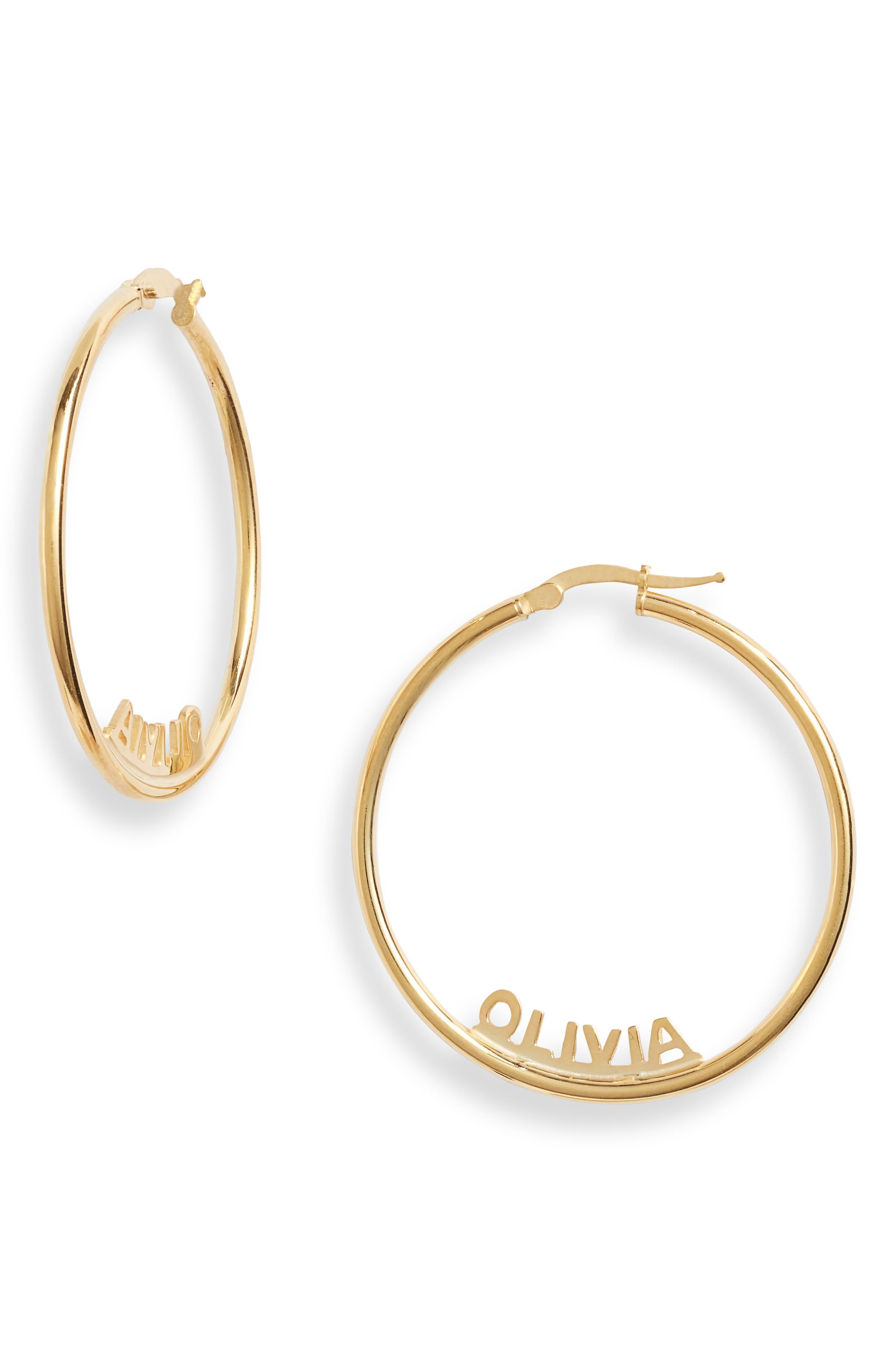 Women's Argento Vivo Personalized Name Hoop Earrings