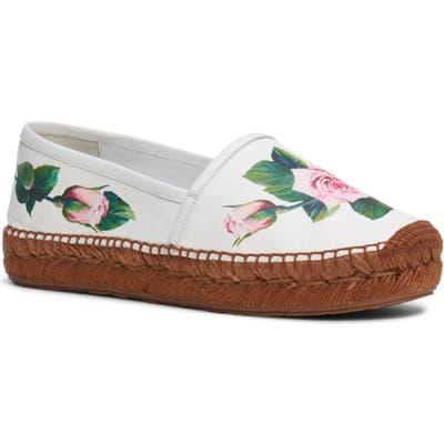 Dolce & gabbana Floral Espadrille Flat - White