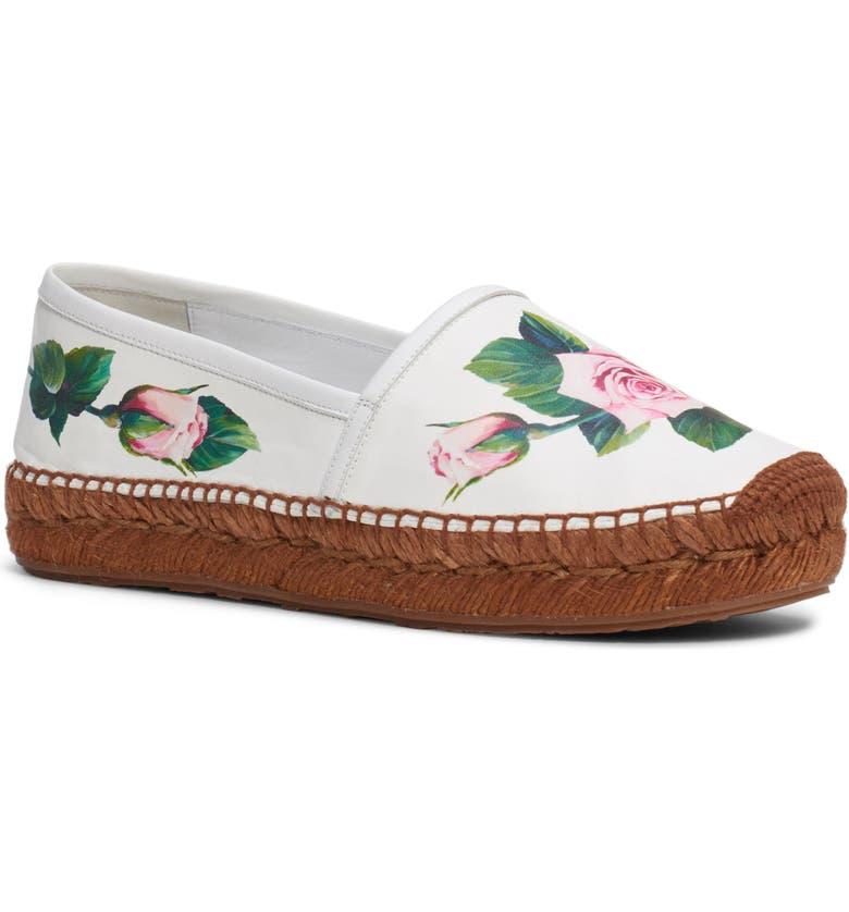 DOLCE&GABBANA Floral Espadrille Flat, Main, color, WHITE/ PINK