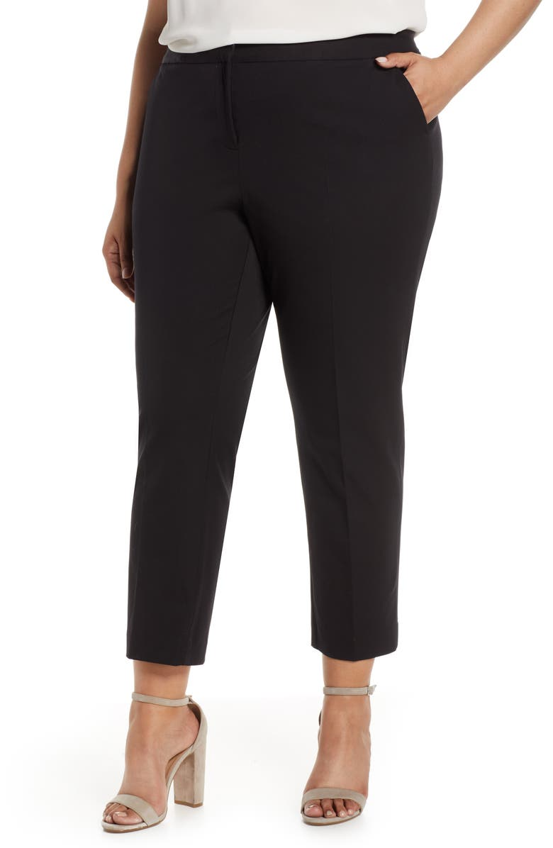 VINCE CAMUTO Stretch Twill Crop Pants, Main, color, RICH BLACK