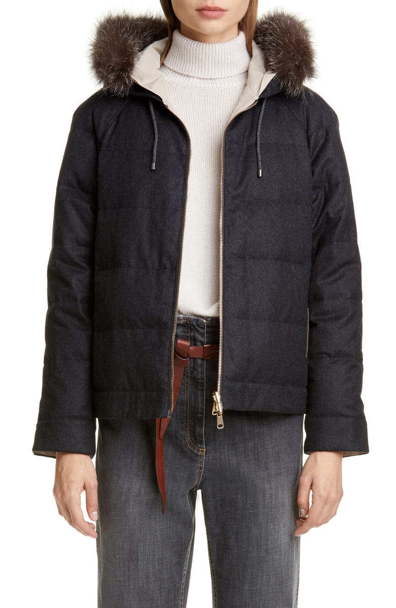 BRUNELLO CUCINELLI Hooded Reversible Jacket with Genuine Fox Fur Trim, Main, color, ANTHRACITE