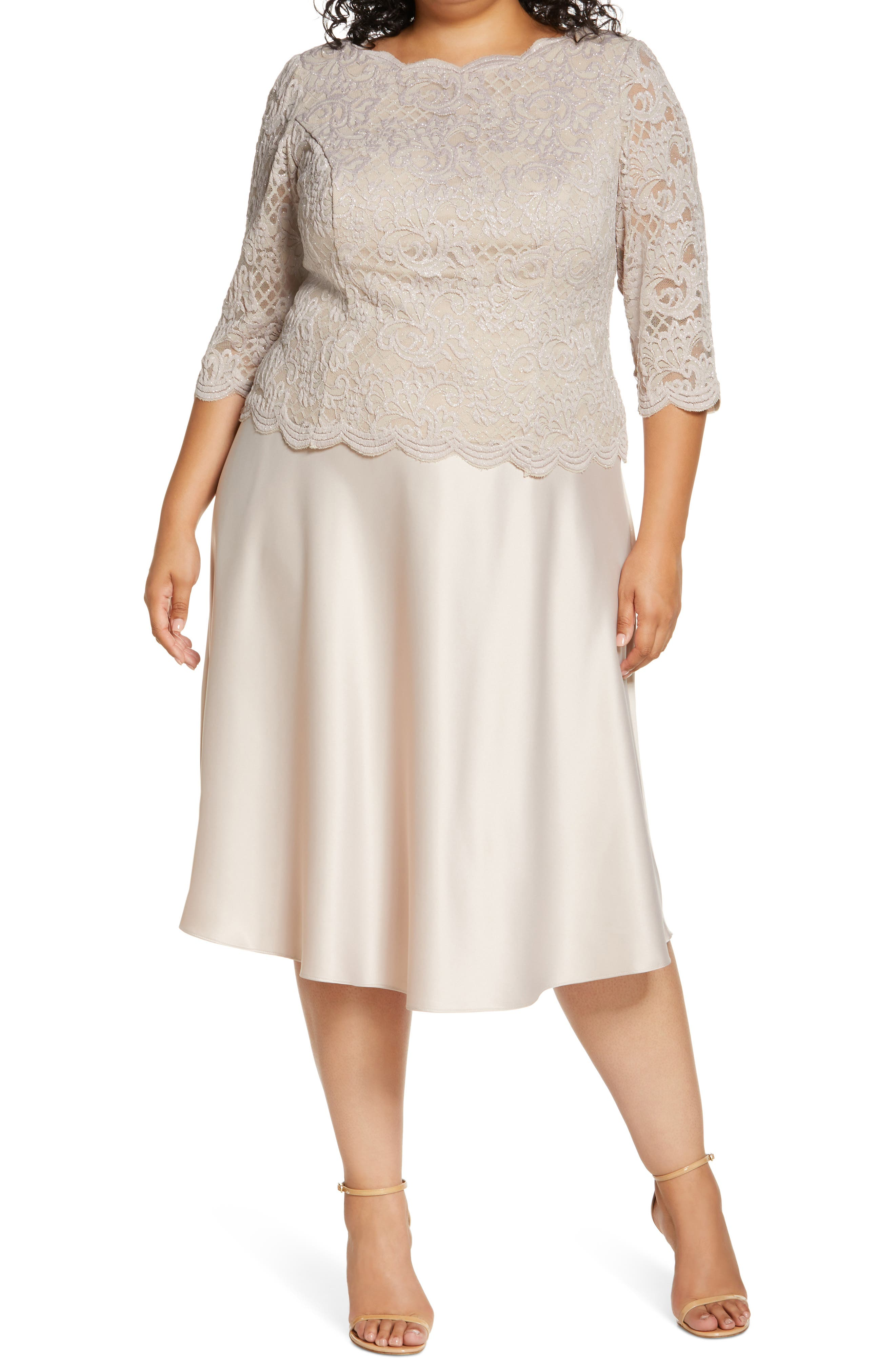1920s Plus Size Fashion in the Jazz Age Plus Size Womens Alex Evenings Brocade Bodice Cocktail Midi Dress Size 16W - Brown $199.00 AT vintagedancer.com