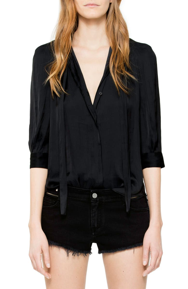 ZADIG & VOLTAIRE Tie Neck Satin Blouse, Main, color, NOIR