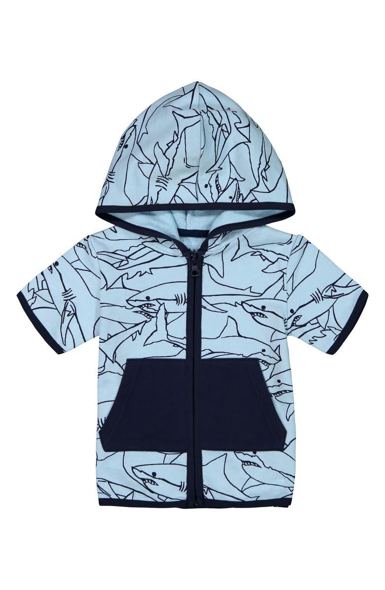 ANDY & EVAN Sharks Short Sleeve Zip Hoodie, Main, color, LIGHT BLUE