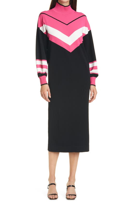 Tanya Taylor Ivanna Long Sleeve Knit Dress In Black/ Pink/ White