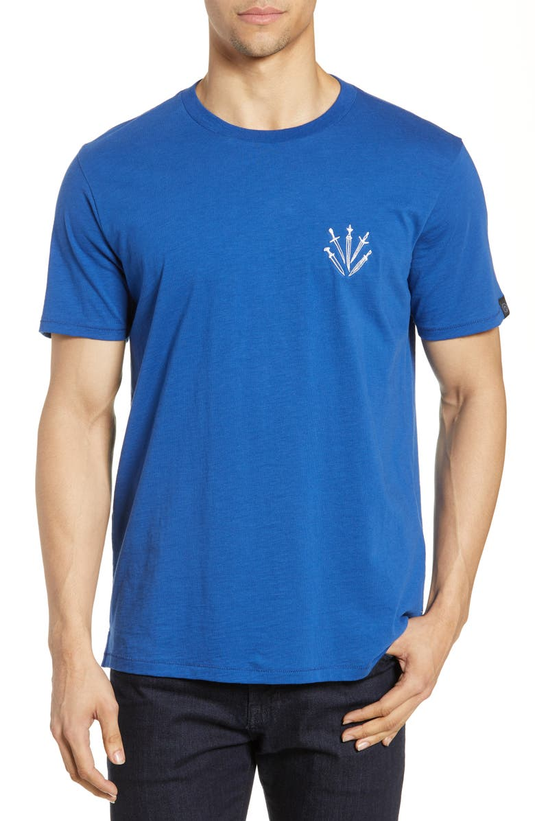 RAG & BONE Dagger Embroidered T-Shirt, Main, color, PRUSSIANBL