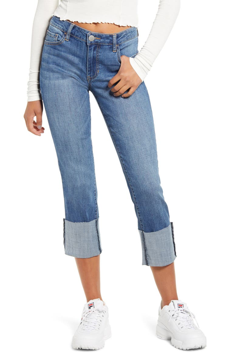 PROSPERITY DENIM Cuff Hem Crop Skinny Jeans, Main, color, MEDIUM WASH