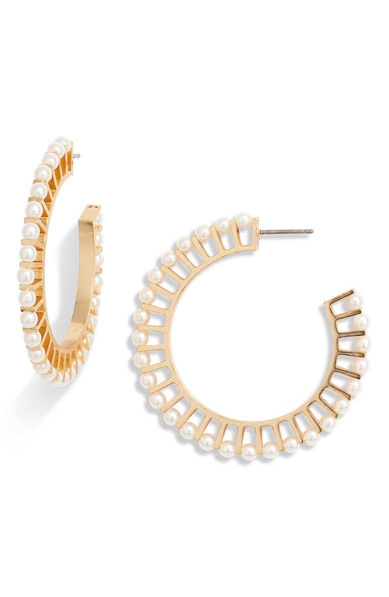 J.CREW Imitation Pearl Hoop Earrings, Main, color, PEARL