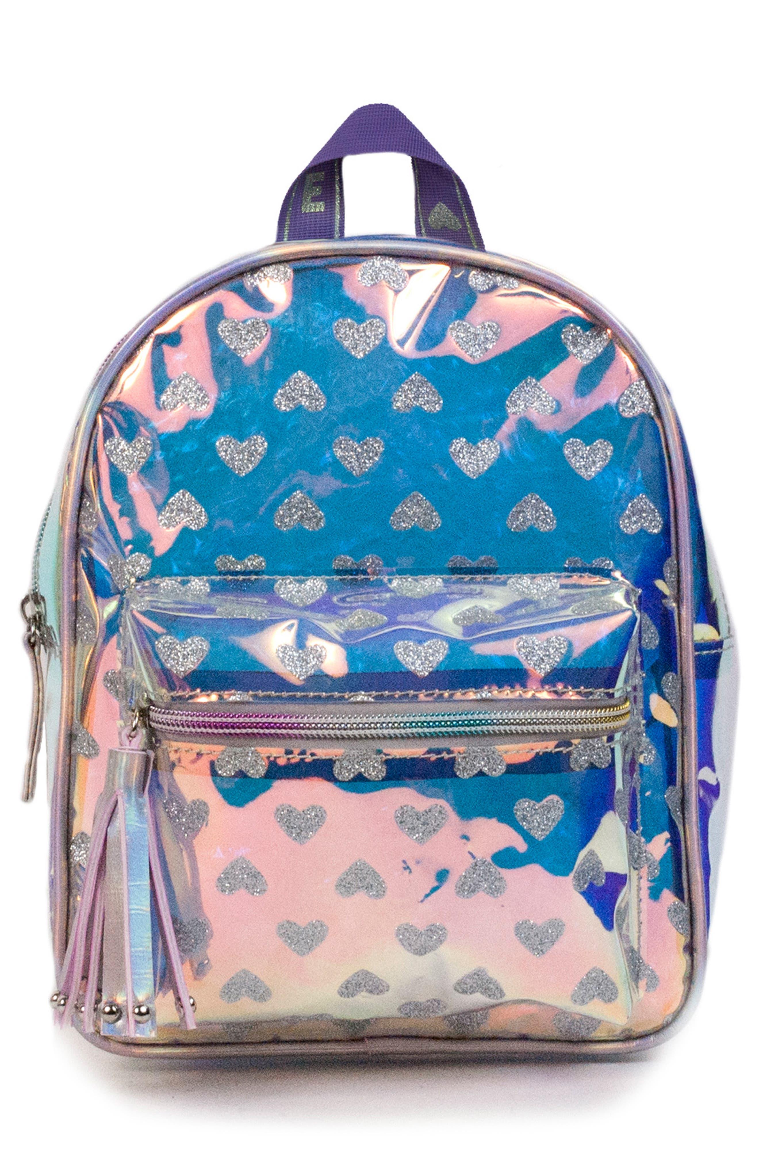 Girls Omg Glitter Heart Iridescent Mini Backpack  Purple